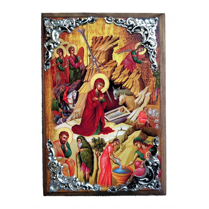 WOODEN ICON OF THE BIRTH OF JESUS CHRIST AM30 15x11 cm