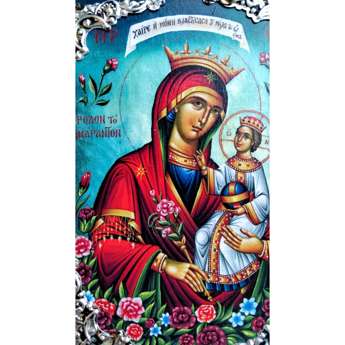WOODEN ICON OF MARY THE UNWITHERING ROSE AM30 15x11 cm