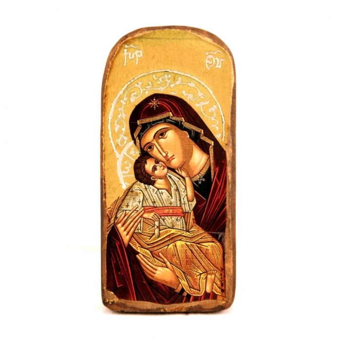 WOODEN ICON 3PO VIRGIN MARY & JESUS CHRIST A