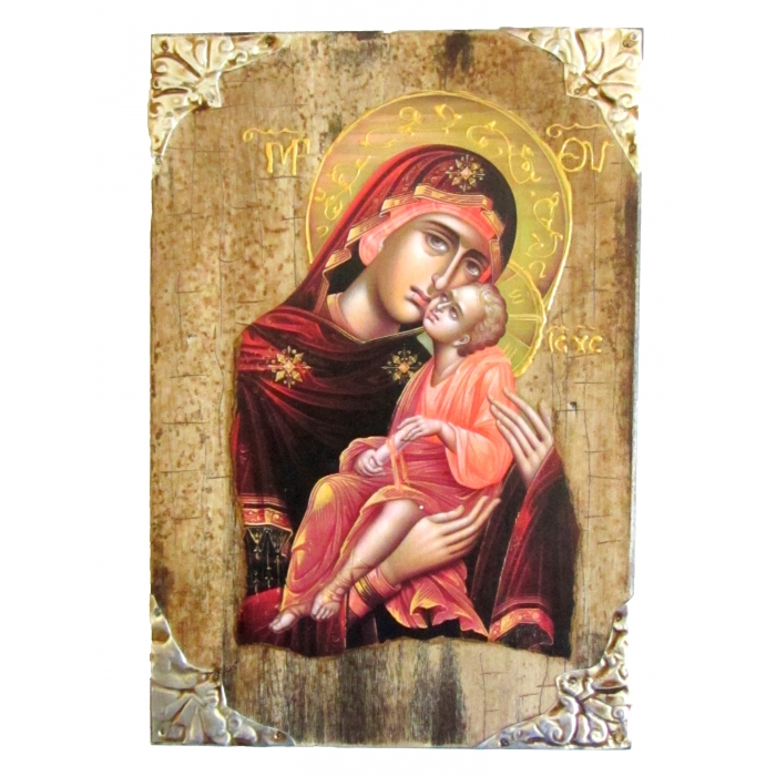WOODEN ICON P16 VIRGIN MARY & JESUS CHRIST