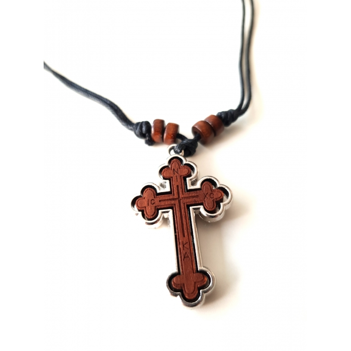 WOODEN TWO SIDED CROSS PENDANT no.52