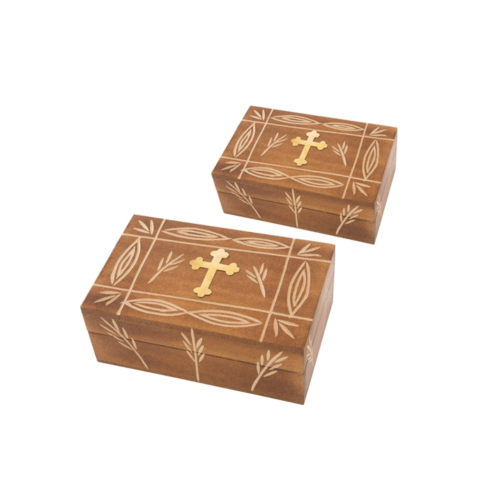SET 2 WOODΕΝ STORAGE BOXES WITH METAL CROSS (355)