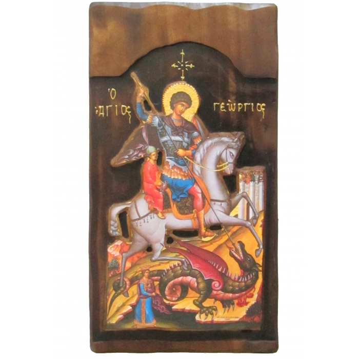 WOODEN ICON K4 SAINT GEORGE 52x28 cm