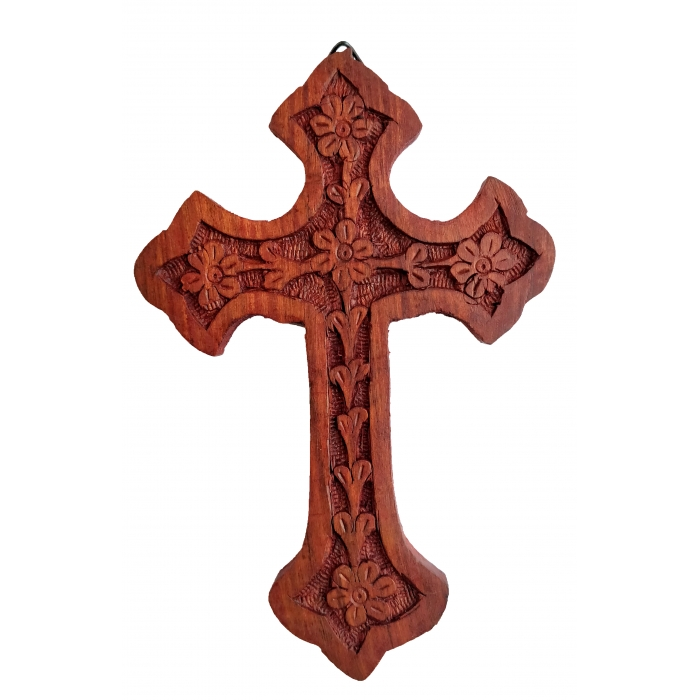 WOOD CARVED CROSS R64