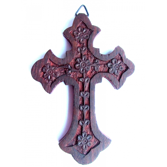 WOOD CARVED CROSS R85