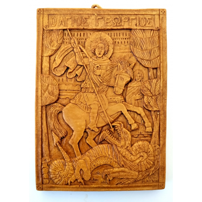 MONASTIC WAX ICON VIRGIN SAINT GEORGE 88A 12x8.5x1.2 cm