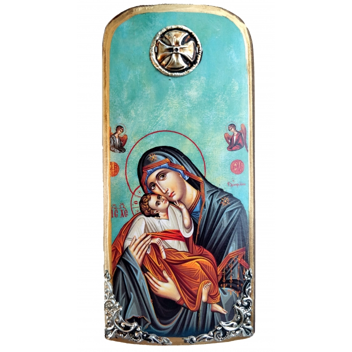 WOODEN ICON VIRGIN MARY & JESUS CHRIST K30 20x9 cm