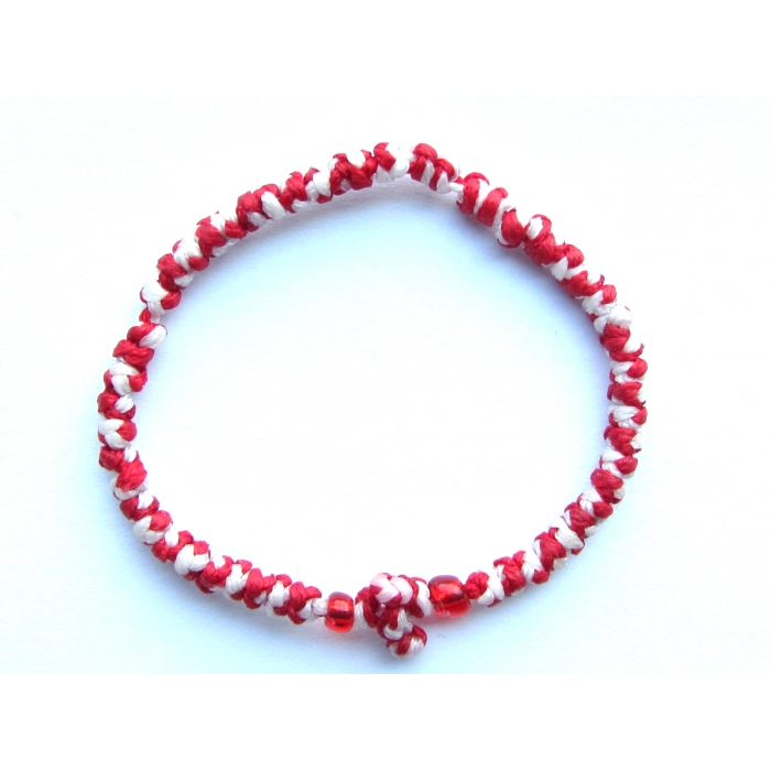 PRAYER ROPE THIN KNOTS RED - WHITE