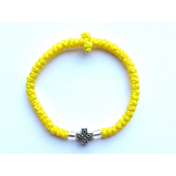 PRAYER ROPE THIN KNOTS YELLOW WITH METALLIC CROSS