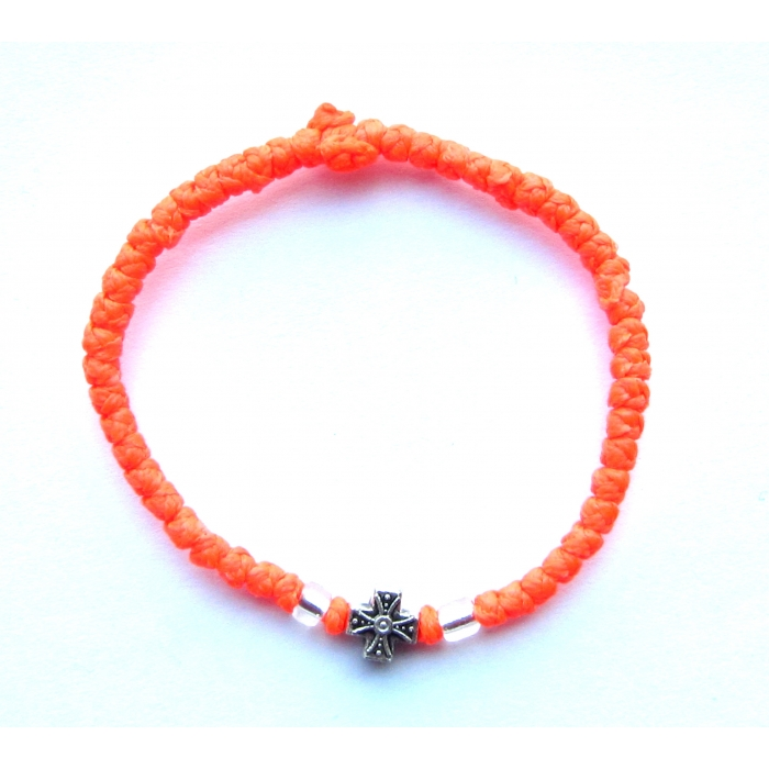 PRAYER ROPE THIN KNOTS ORANGE WITH METALLIC CROSS
