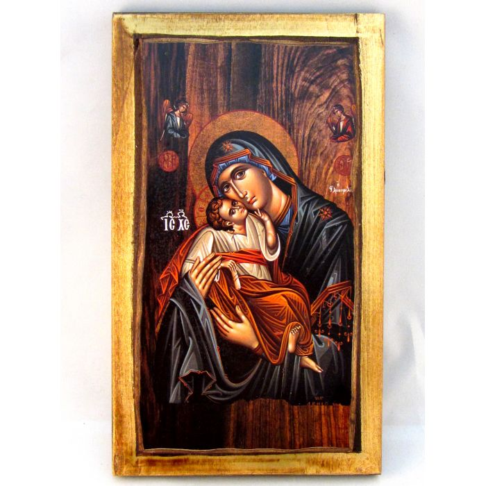 WOODEN ICON VIRGIN MARY & JESUS CHRIST H2 24x14 cm