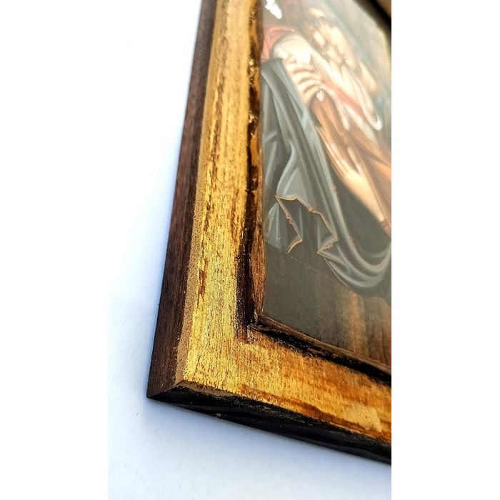 WOODEN ICON VIRGIN MARY & JESUS CHRIST H3 30x14 cm