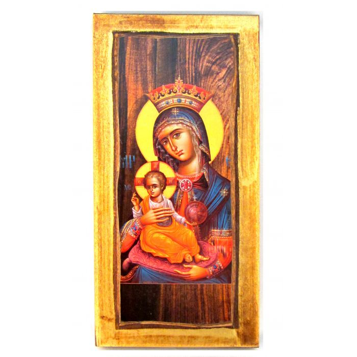 WOODEN ICON VIRGIN MARY & JESUS CHRIST H1 20x10 cm