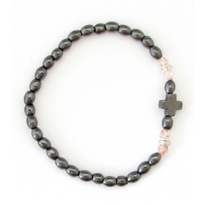 HEMATITE BRACELET WITH CROSS