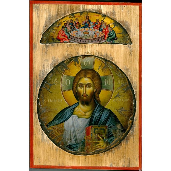 WOODEN ICON WITH JESUS CHRIST ON PAINTING CANVAS M78