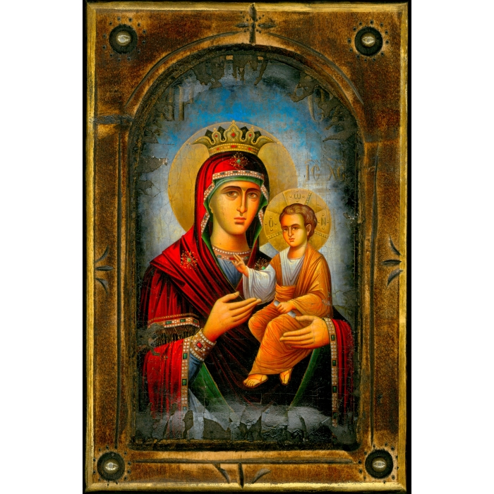 WOODEN ICON WITH VIRGIN MARY AND JESUS CHRIST ON PAINTING CANVAS M1 38x25 cm