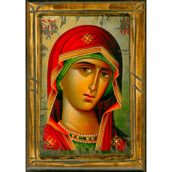 WOODEN ICON WITH VIRGIN MARY ON PAINTING CANVAS M2