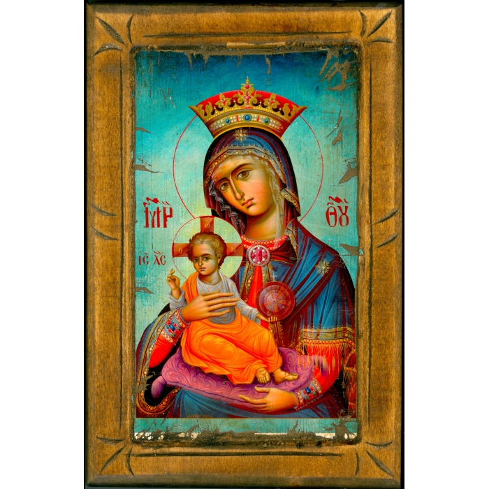 WOODEN ICON WITH VIRGIN MARY AND JESUS CHRIST ON PAINTING CANVAS M4