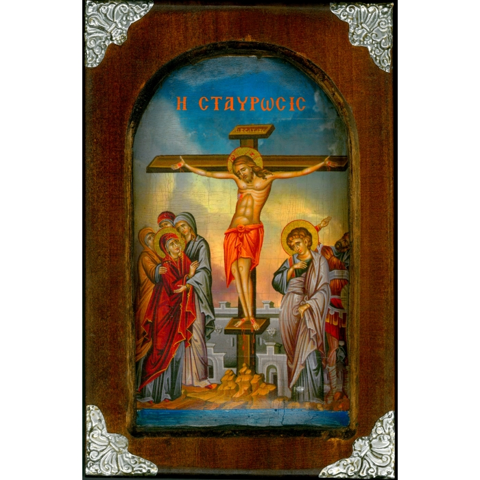 WOODEN ICON WITH CRUCIFICTION ON PAINTING CANVAS M5 38x25 cm