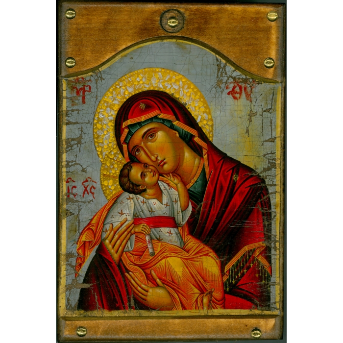 WOODEN ICON WITH VIRGIN MARY AND JESUS CHRIST ON PAINTING CANVAS M6