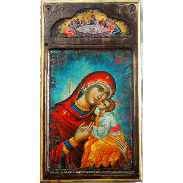 WOODEN ICON WITH VIRGIN MARY AND JESUS CHRIST ON PAINTING CANVAS M15