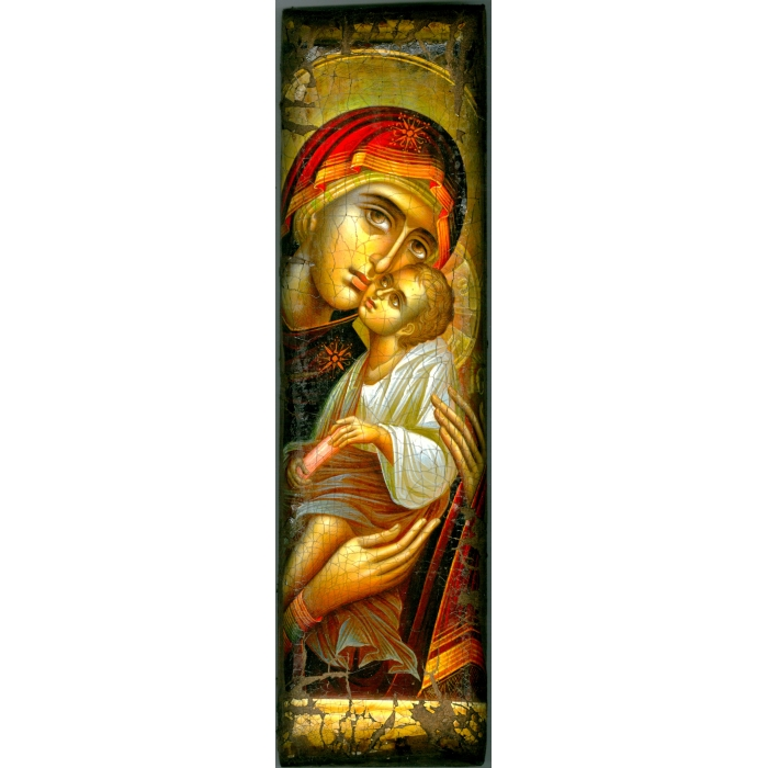 WOODEN ICON WITH VIRGIN MARY AND JESUS CHRIST ON PAINTING CANVAS M20 39x12 cm