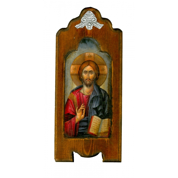 WOODEN ICON WITH JESUS CHRIST ON PAINTING CANVAS M7