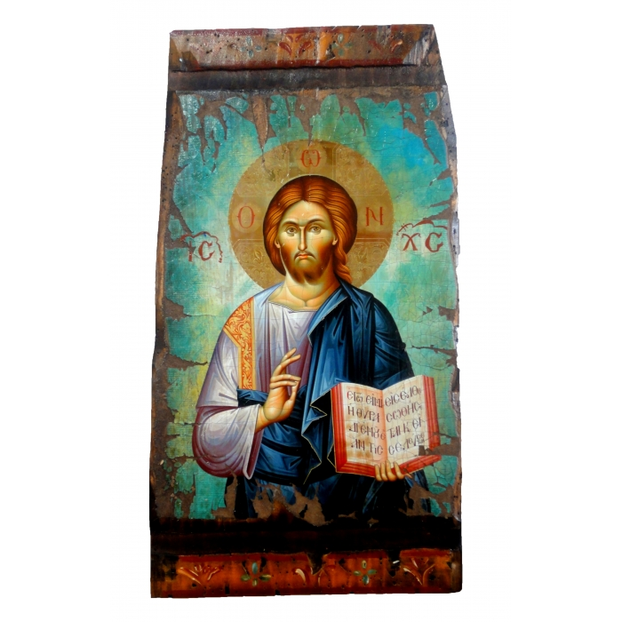WOODEN ICON WITH JESUS CHRIST ON PAINTING CANVAS M17 52x28 cm