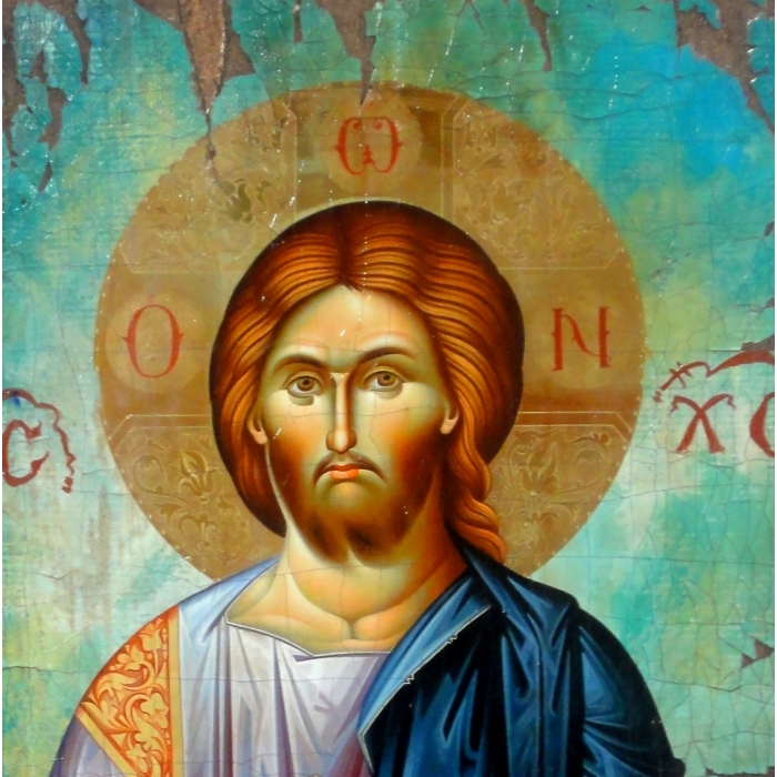 WOODEN ICON WITH JESUS CHRIST ON PAINTING CANVAS M17