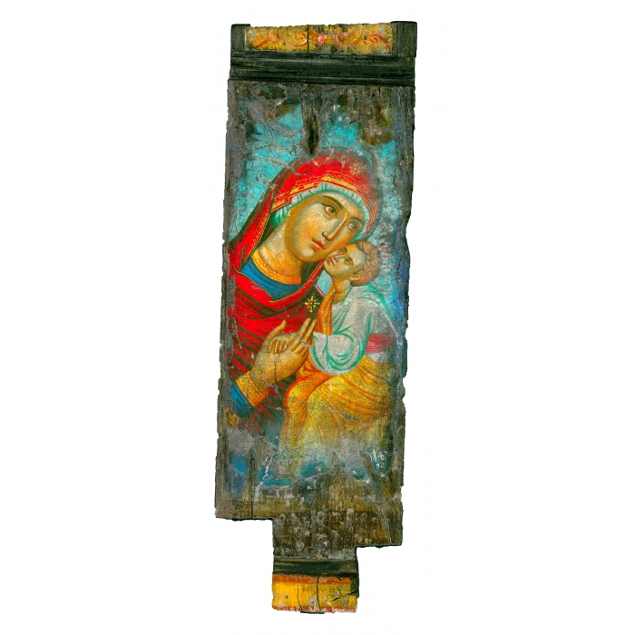 WOODEN ICON WITH VIRGIN MARY AND JESUS CHRIST ON PAINTING CANVAS M22A
