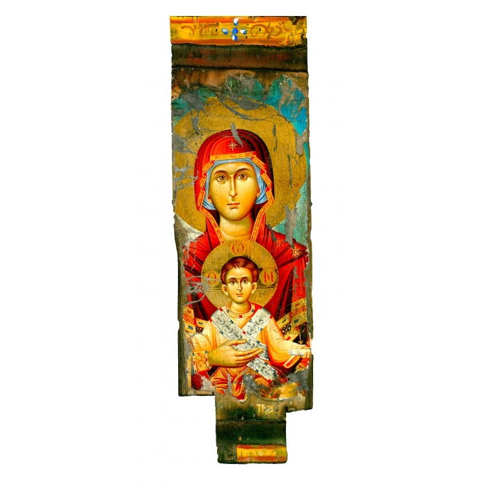 WOODEN ICON WITH VIRGIN MARY AND JESUS CHRIST ON PAINTING CANVAS M22C 37x11 cm