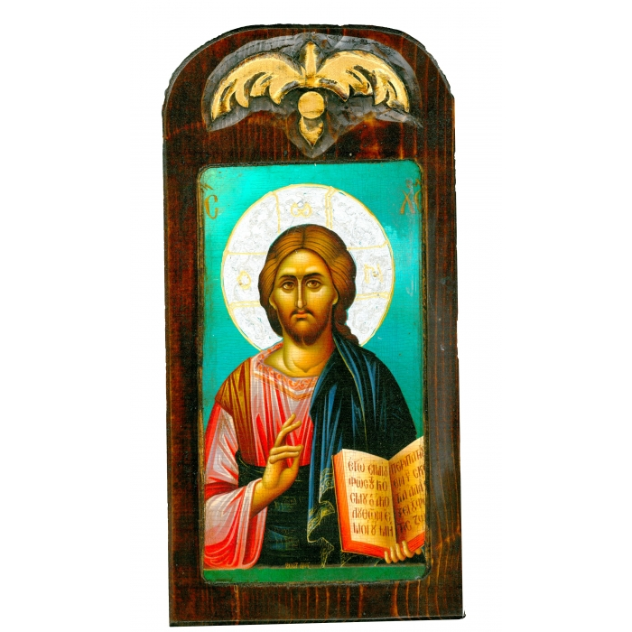 WOODEN ICON WITH JESUS CHRIST ON PAINTING CANVAS M50 40x20 cm