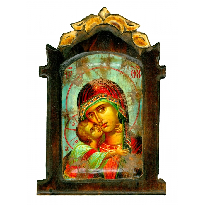 WOODEN ICON WITH VIRGIN MARY AND JESUS CHRIST ON PAINTING CANVAS M56