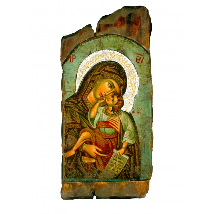 WOODEN ICON WITH VIRGIN MARY AND JESUS CHRIST ON PAINTING CANVAS M57 38x19 cm
