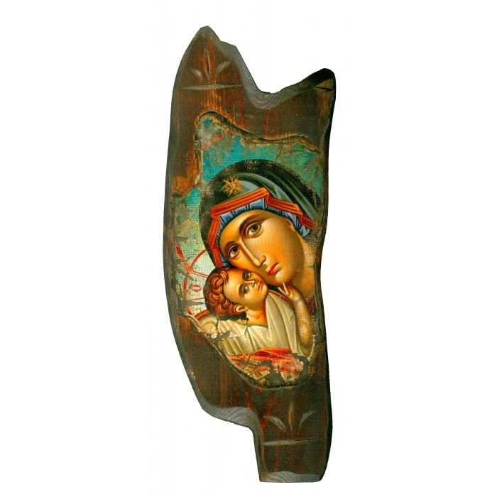 WOODEN ICON WITH VIRGIN MARY AND JESUS CHRIST ON PAINTING CANVAS M69 35x13 cm