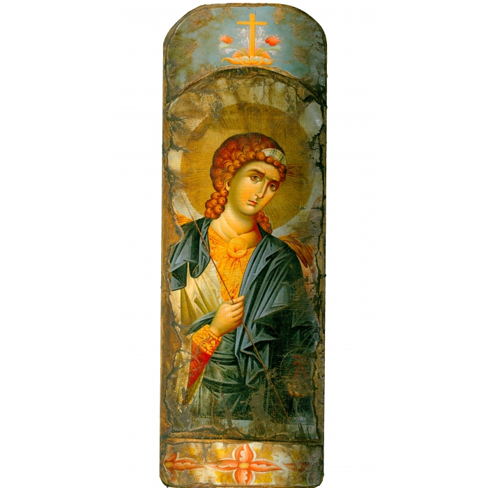 WOODEN ICON WITH ARCHANGEL MICHAEL ON PAINTING CANVAS M48
