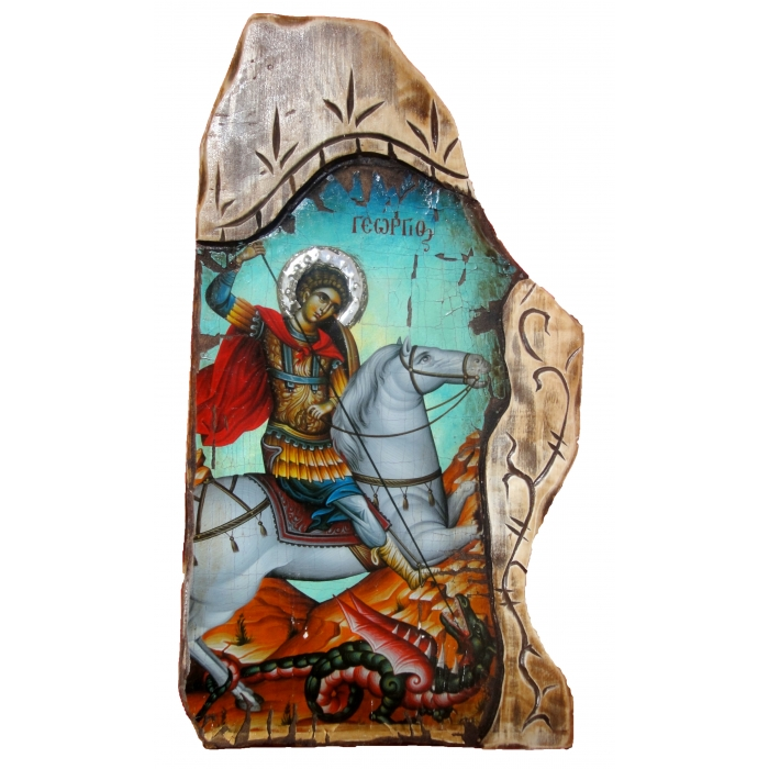 WOODEN ICON OF SAINT GEORGE ON PAINTING CANVAS M65 52x28 cm