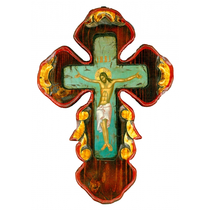 WOODEN CROSS ON PAINTING CANVAS M59 40x28 cm
