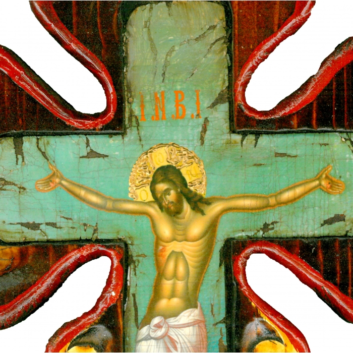 WOODEN CROSS ON PAINTING CANVAS M59
