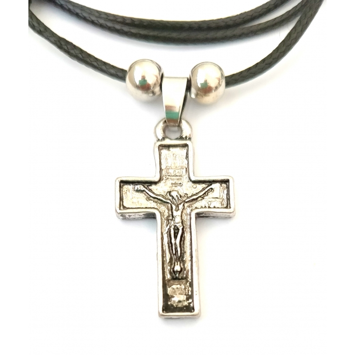 DOUBLE FACE STAINLESS STEEL CROSS PENDANT no.49