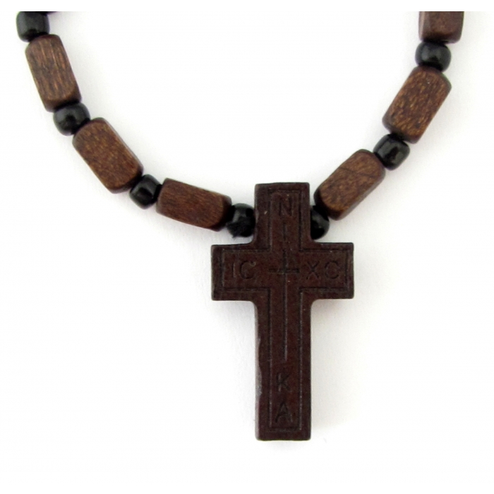 WOODEN TWO SIDED CROSS PENDANT no.12
