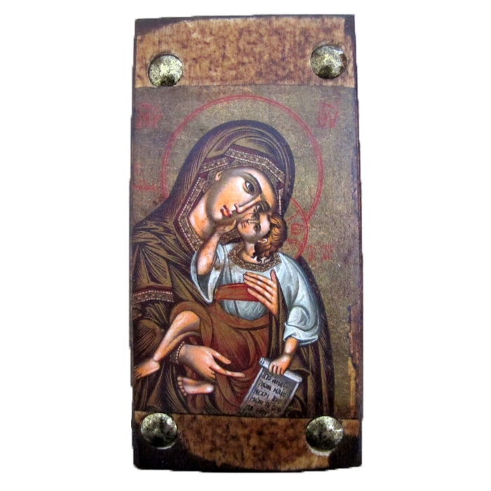 WOODEN ICON MP6 VIRGIN MARY & JESUS CHRIST