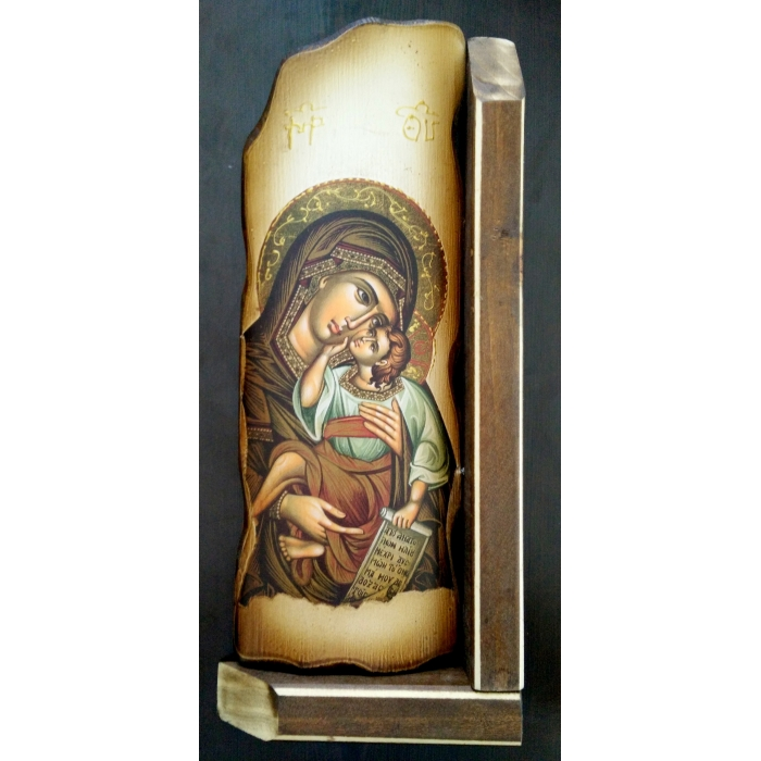 WOODEN ICON CERAMIC STYLE VIRGIN MARY & JESUS CHRIST