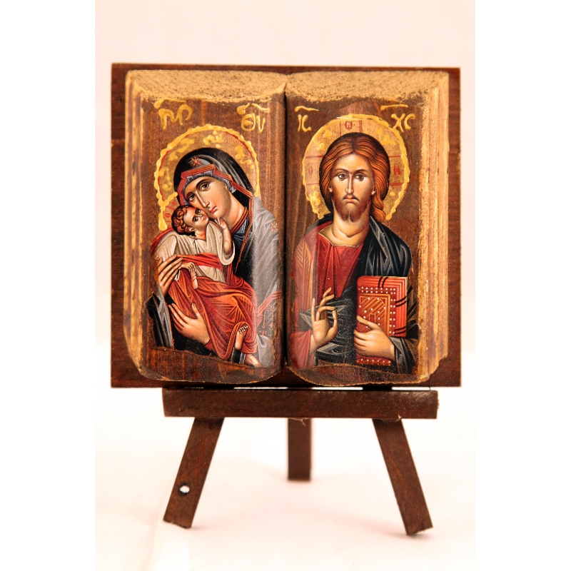 WOODEN ICON MP11 VIRGIN MARY & JESUS CHRIST