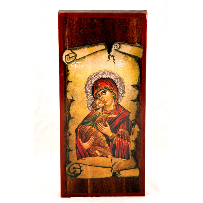 BOMBONNIERE WOODEN ICON MP15 VIRGIN MARY & JESUS CHRIST