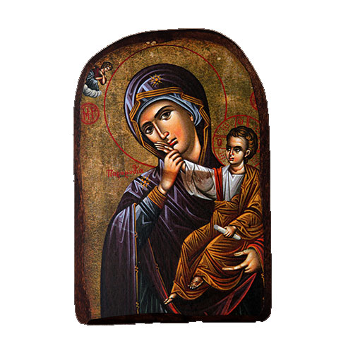 BOMBONNIERE WOODEN ICON MP2 VIRGIN MARY & JESUS CHRIST
