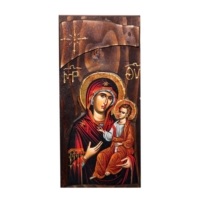 WOODEN ICON WITH VIRGIN MARY AND JESUS CHRIST N18K