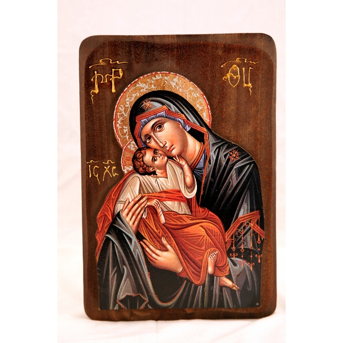 WOODEN ICON WITH VIRGIN MARY & JESUS CHRIST R3