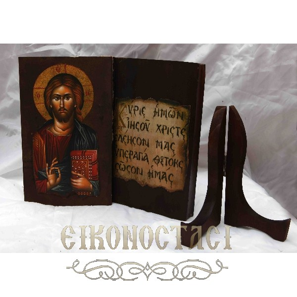 WOODEN OPEN BOOK STYLE ICON 10 JESUS CHRIST