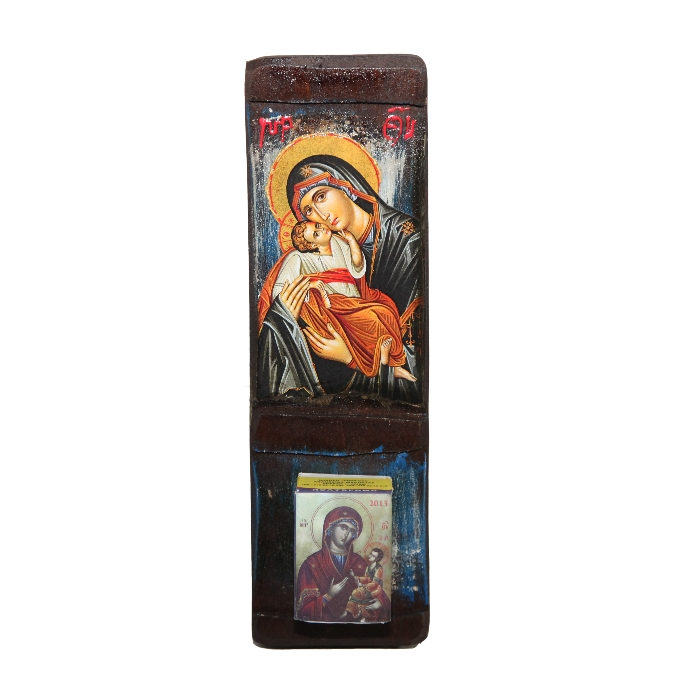 WOODEN ICON WITH VIRGIN MARY WALL CALENDAR 1